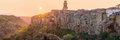 Panoramic View Of The Old Town Of Pitigliano In Sunset Stock Images - 76237464