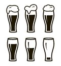 Six Simple Black Icons Of Beer In Glass Stock Image - 76238991
