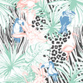 Tropical Floral Summer Seamless Color Background Pattern With Pa Royalty Free Stock Image - 76241296