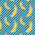 Bananas Pattern On Stripes Background. Seamless Pattern. Pop Art Color. Print Texture. Fabric Design. Royalty Free Stock Photo - 76271385