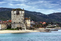 Panorama Of Ouranopoli And Medieval Tower, Athos, Chalkidiki, Greece Royalty Free Stock Photo - 76279495