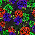 Rose Flower Seamless Pattern, Vector Background. Flowers Roses In Unusual Bright Colors Creative, Purple Bud,  Orange Royalty Free Stock Photo - 76282085