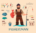 Fishing Tools Illustration Royalty Free Stock Photography - 76294427