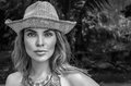 Portrait Of Beautiful Woman With Straw Hat On A Sunny Day Royalty Free Stock Photography - 76296047