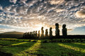 Silhouette Shot Of Moai Statues In Easter Island Royalty Free Stock Photos - 76299128