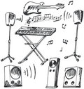 Musical Instruments And Loudspeakers Doodles Royalty Free Stock Photos - 7633208