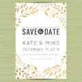 Save The Date, Wedding Invitation Card Template With Golden Flower Floral Background. Royalty Free Stock Images - 76318279
