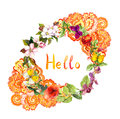 Floral Wreath - Eastern Ornate Design. Flowers, Butterflies. Ditsy Watercolor Stock Images - 76334454
