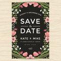 Save The Date, Wedding Invitation Card Template With Hand Drawn Wreath Flower Vintage Style. Flower Floral Background. Royalty Free Stock Images - 76355809