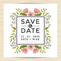 Save The Date, Wedding Invitation Card Template With Hand Drawn Wreath Flower Vintage Style. Flower Floral Background. Stock Photos - 76355843