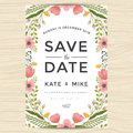 Save The Date, Wedding Invitation Card Template With Hand Drawn Wreath Flower Vintage Style. Flower Floral Background. Stock Image - 76355871