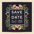 Save The Date, Wedding Invitation Card Template With Hand Drawn Wreath Flower Vintage Style. Flower Floral Background. Royalty Free Stock Photo - 76355875