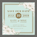 Save The Date, Wedding Invitation Card Template With Hand Drawn Flower Floral Background. Vintage Style. Royalty Free Stock Photos - 76355888