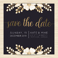 Save The Date, Wedding Invitation Card Template With Golden Flower Floral Background. Royalty Free Stock Photo - 76355895
