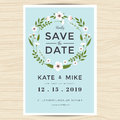 Save The Date, Wedding Invitation Card Template With Hand Drawn Wreath Flower Vintage Style. Flower Floral Background. Royalty Free Stock Images - 76355899