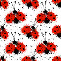 Vector Hand Drawn Watercolor Seamless Pattern With Ladybug. Stock Image - 76363631