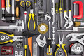 Set Of Hand Various Work Tools On Grey Background Top View Royalty Free Stock Photos - 76396008