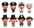 Police, Seafarers, Captain, Sheriff, Cowgirl And Pirates Vector Character Set Royalty Free Stock Photo - 76406195