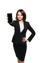 Business Woman Show Mobile Cell Phone Display Royalty Free Stock Image - 76413426