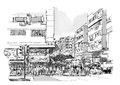 Hand Drawn Sketch Of City Street,cityscape Stock Images - 76415614