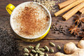Chai Latte Tea Cup Ingredients Royalty Free Stock Photography - 76442627