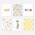 Set Of 6 Cute Creative Cards Templates With School And Autumn Theme Design. Hand Drawn Card For Anniversary, Birthday, Party. Royalty Free Stock Photos - 76448448