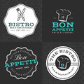 Set Of Badges, Banner, Labels And Logos For Food Restaurant, Foods Shop And Catering With Seamless Pattern. Royalty Free Stock Photos - 76453398