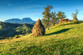 Autumn Rural Landscape With Hay Bales,Holbav,Transylvania,Romania,Europe Royalty Free Stock Photos - 76463368