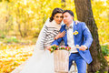 Bride And Groom In Autumn Park Stock Image - 76463501