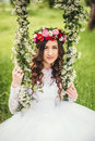 Beautiful Bride On A Swing Royalty Free Stock Images - 76468659