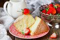 Traditional Italian Sponge Cake Pan Di Spagna With Strawberry An Royalty Free Stock Photos - 76470878