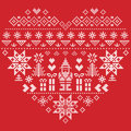 Heart Shape Christmas  Pattern With Santa Claus On Red Background Royalty Free Stock Photography - 76480087