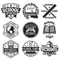 Vector Set Of School Badges For New Season, Sales Etc. With Globe, Computer, Book, Backpack,  Bus . Royalty Free Stock Photo - 76488595