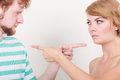 Couple Pointing Fingers At Each Other, Conflict Royalty Free Stock Image - 76491196