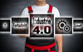Industrie 4.0 (in German Industry Progress Future) Touchscreen I Royalty Free Stock Photography - 76512097