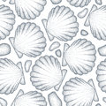 Vector Seamless Pattern With Dotted Sea Shell Or Scallop In Black And Pebbles On The White. Marine And Aquatic Theme. Stock Photo - 76519220