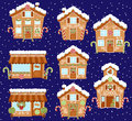 Set Of Cute Vector Holiday Gingerbread Houses, Shops And Other Buildings Royalty Free Stock Photos - 76530718