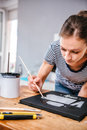 Woman Paining On Canvas Royalty Free Stock Photography - 76539937