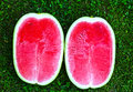 Two Half Ripe Water Melon Close Up Photo On Grass Stock Image - 76546301