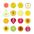 Halves Of Fruit Set. Vector Royalty Free Stock Image - 76548616