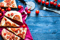 Tasty Hand Made Tomatoes  Pizza Bread Stock Image - 76562661