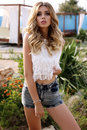 Gorgeous Sexy Woman With Blond Hair In Casual Clothes Royalty Free Stock Photography - 76564157