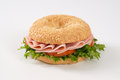 Bagel Sandwich With Ham Stock Photos - 76565553
