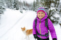 Happy Woman Walking In Winter Forest With Dog Stock Image - 76580051