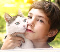 Preteen Handsome Boy With Tom Cat Stock Photo - 76580310