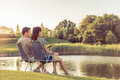 Couple Catching Fish Stock Photography - 76580692