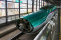 E5 Series Bullet Train Opens Nose Cover For Coupling Process.. Stock Images - 76584224