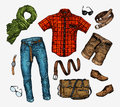 Set Of Trendy Men S Clothes. Outfit Man Neckerchief, Shirt, Bag, Jeans, Pants, Shorts, Leather Belt, Shoes Stock Photography - 76600112