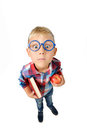 Wide Angle Full Length Portrait Of Boy A Student In Shirt In Glasses Hugging Book And Apple In Hands, Looking At Camera, Isolated Royalty Free Stock Photos - 76603838