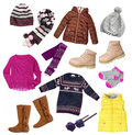Child Girl Winter Autumn Clothes Set Isolated. Royalty Free Stock Photo - 76611145